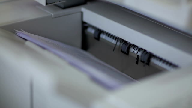 Photocopier printing documents HD video
