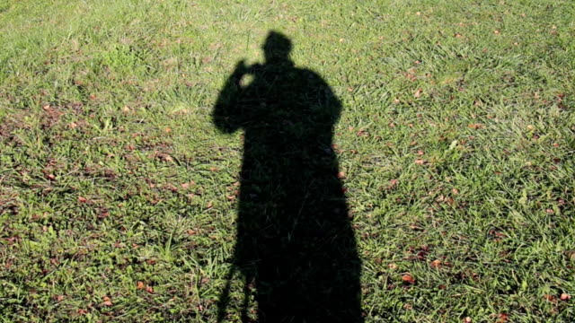 photographer as a shadow on gras - profile photo bildbanksvideor och videomaterial från bakom kulisserna