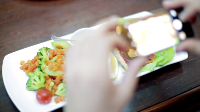 Photographing healthy lunch on a smartphone video