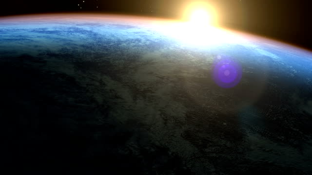 PhotoReal Earth & sunrise seen from space video