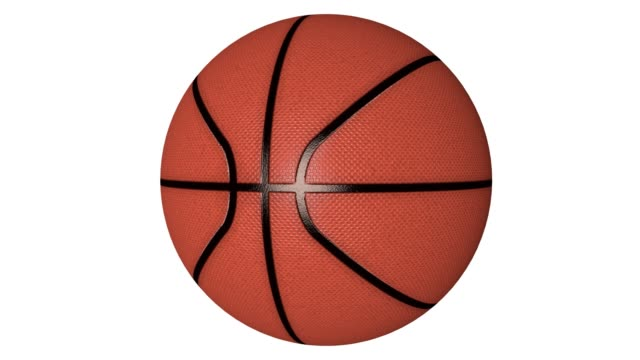 Photorealistic Basketball Rotating on the White Background. Looped. Alpha Chanel Included