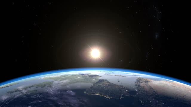 Photo-realistic sunrise over Earth video