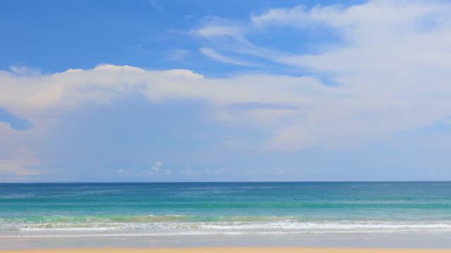 phuket beach sea, view of beach sea on sun light in the summer. at kata beach, phuket, thailand. - krajobraz morski filmów i materiałów b-roll
