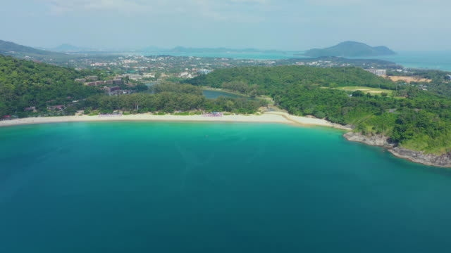 Phuket island. Tropical island with white sandy beach. Beautifull, view from above. Tropical island with sandy beach. Thailand Aerial