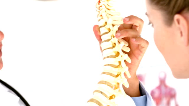 Physiotherapist explaining spine model to patient video