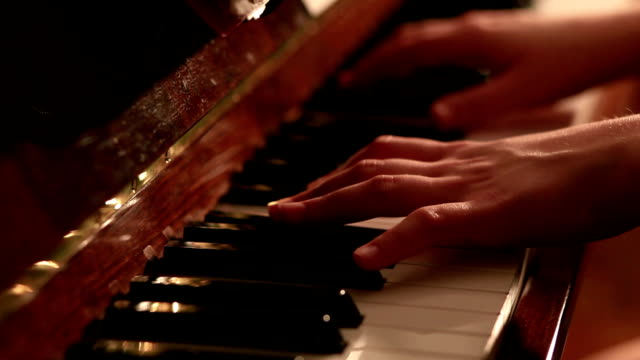 Pianist playing close up dolly shot video