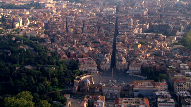 piazza del popolo e irlanda porta-vista aerea-latium, roma, italia - nord europeo video stock e b–roll