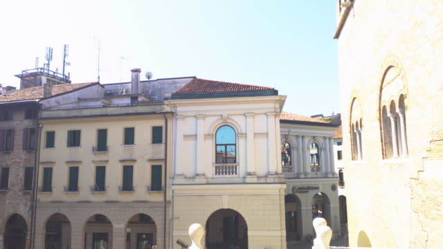 Piazza della Liberta in Treviso 4 TREVISO, ITALY 13 AUGUST 2020: Piazza della liberta or liberty sqaure in english in Treviso in Italy neoclassical architecture stock videos & royalty-free footage