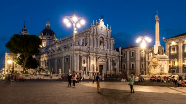 Piazza Duomo (Cathedral Square) in Catania, Sicily, Italy. Time lapse shot after sunset. 4K, UHD