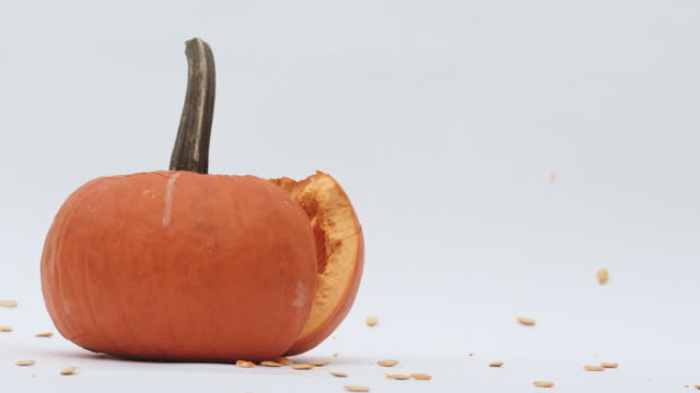 pick up and slam pumpkin on ground close up sow motion - zucca legenaria video stock e b–roll