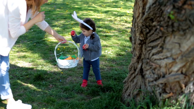 Picking up easter eggs hidden behind the trees video