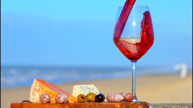 Picnic on the Atlantic coast with cheeses and wine video
