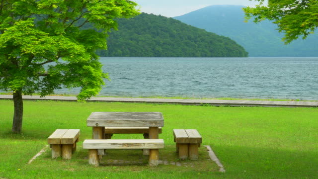 Picnic table with view at Lake Towada Japan