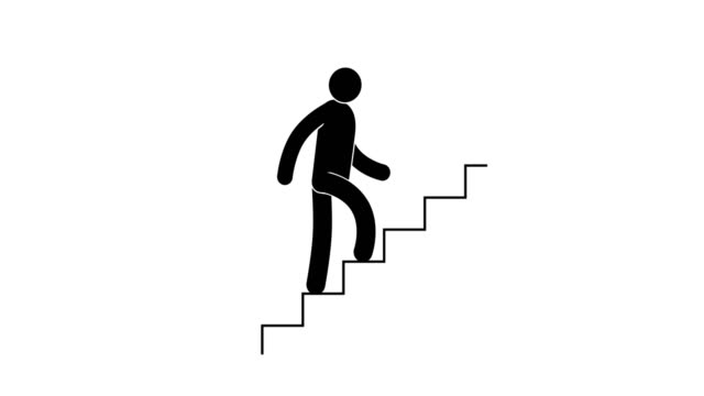 pictogram man ascends the stairs - emblema video stock e b–roll