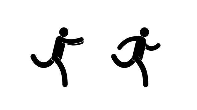 pictogram man run cycle - people icon video stock e b–roll