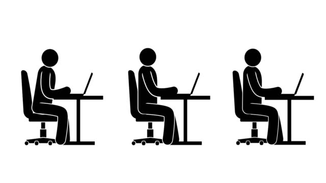pictogram people sitting at the table with a laptop - icons стоковые видео и кадры b-roll
