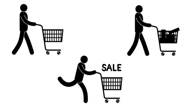 pictogram people walking with shopping cart - people icon video stock e b–roll