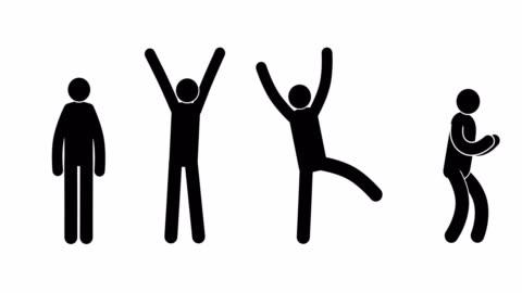 vidéos et rushes de pictogrammes expriment leur joie, succès, réussite, victoire - symbole