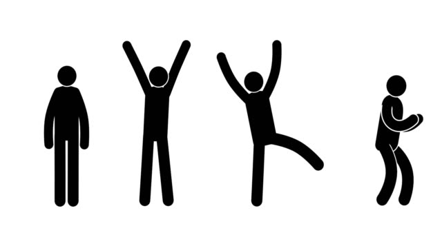 pictograms people express their joy, success, achievement, victory - icons стоковые видео и кадры b-roll
