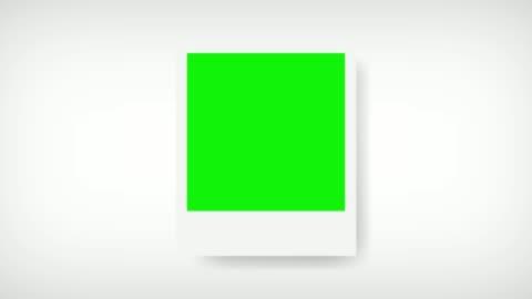 vídeos de stock e filmes b-roll de picture frame with green screen for your photo. white background - fotografia imagem