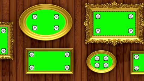 vídeos y material grabado en eventos de stock de animación 3d de la galería de foto. marcos de oro sobre fondo marrón de madera. cámara se mueve a lo largo de la pared, bucle sin interrupción. marcadores de seguimiento de movimiento y pantalla verde incluido. - ornamentado