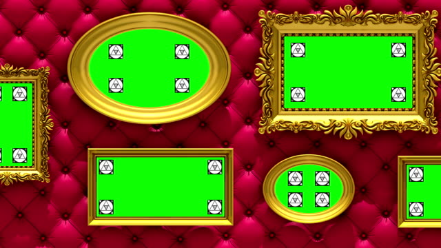 Picture gallery 3d animation. Gold picture frames on luxury red upholstery background. Camera moves along the wall, seamless loop. Motion tracking markers and green screen included. Picture gallery, 3d animation on red upholstery background, motion tracking markers, green screen art deco architecture stock videos & royalty-free footage