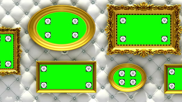 vídeos de stock e filmes b-roll de picture gallery 3d animation. gold picture frames on luxury white upholstery background. camera moves along the wall, seamless loop. motion tracking markers and green screen included. - white wall