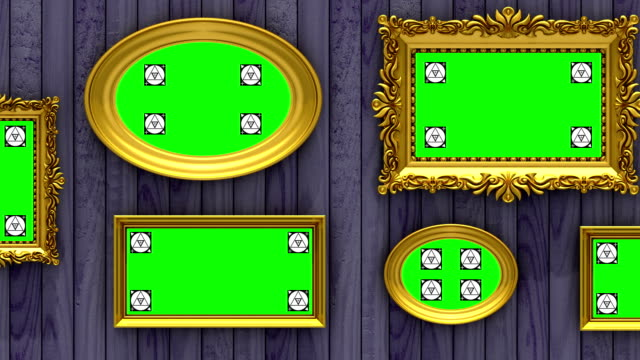 picture gallery 3d animation. gold picture frames on purple wood background. camera moves along the wall, seamless loop. motion tracking markers and green screen included. - muro video stock e b–roll