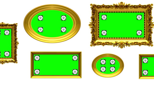 Picture gallery, 3d animation on white background, motion tracking markers, green screen video