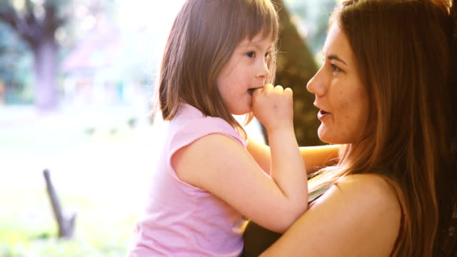 vídeos de stock e filmes b-roll de picture of mother and child with special needs - capacidades diferentes