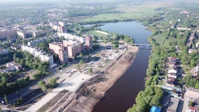 orekhovo-zuyevo rus şehrinin pitoresk havadan görünümü - gazlı bez stok videoları ve detay görüntü çekimi