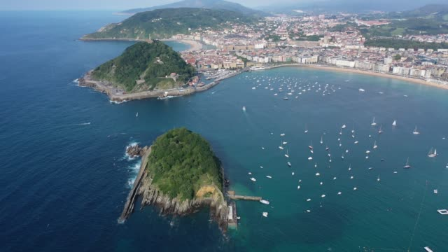 Picturesque aerial view of turquois water of La Concha Bay of San Sebastian