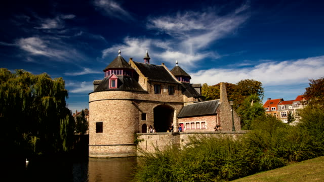 picturesque architecture of bruges (brugge), belgium, time lapse - bruges video stock e b–roll