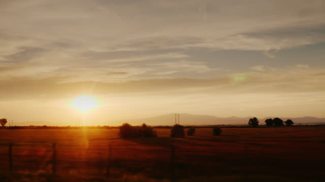Picturesque countryside at sunset. Fields and vineyards in Europe, view from the car window. ProRes 10 bit video video