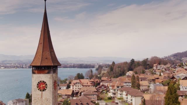Picturesque Swiss Town of Oberhofen am Thunersee, Switzerland video