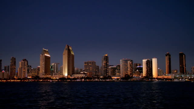 Picturesque View of San Diego Skyline at Night from Centennial Park on Coronado Island video