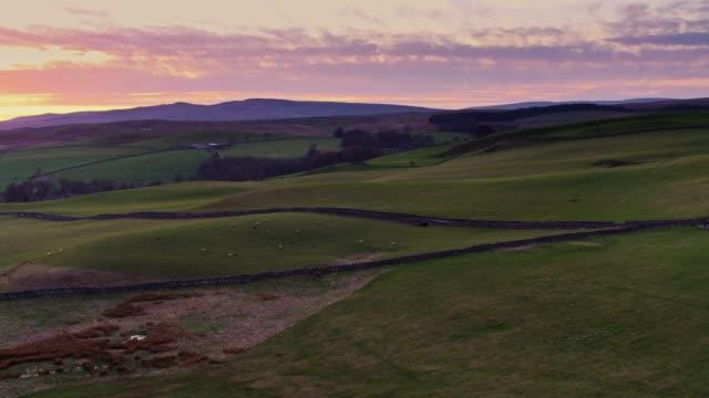 アット サンセット - ドローン ショット美しいヨークシャー農地 - 石垣点の映像素材/bロール