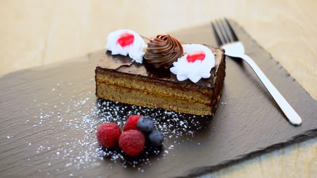 Piece of chocolate cake video