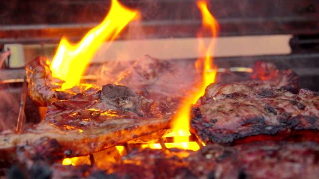 Piece of lamb steak sprinkled with seasoning video