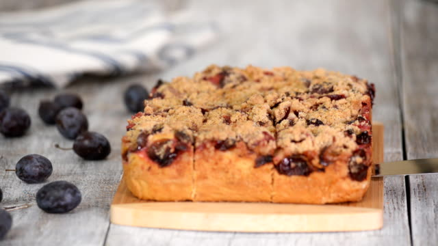 Piece Of Plum Pie With Crumble. Sweet food. Piece Of Plum Pie With Crumble. Sweet food. plum stock videos & royalty-free footage