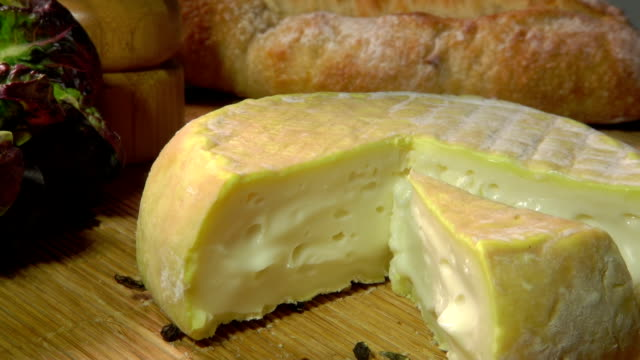Piece of soft sheep cheese from whole milk video