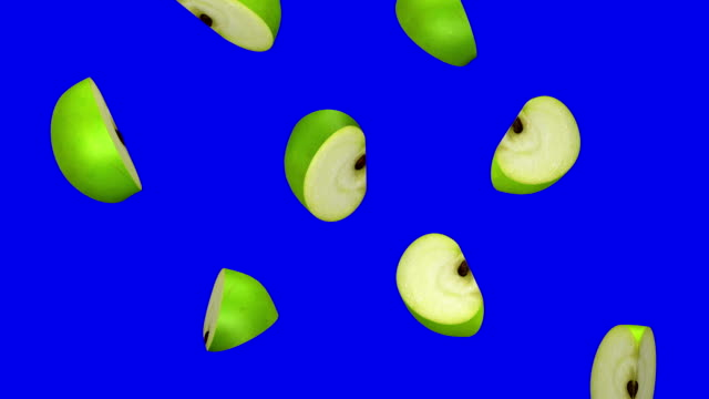 Pieces of green apple falling on blue screen, seamless loop, CG video