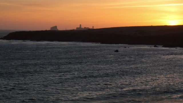 Piedras Point in San Simeon at Sunset video