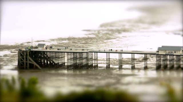 Pier at Low Tide 2. Tilt Shift Timelapse video