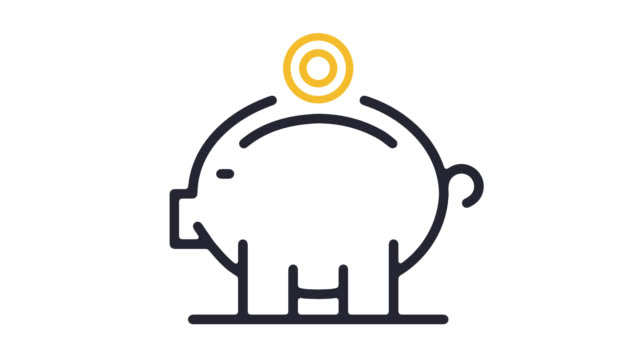 Piggy Bank Account Line Icon Animation with Alpha