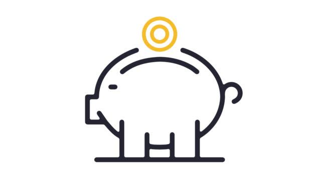 vidéos et rushes de piggy bank compte ligne icône animation avec alpha - tirelire