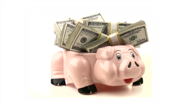 Piggy bank and cash money. Dollars, finance, business video