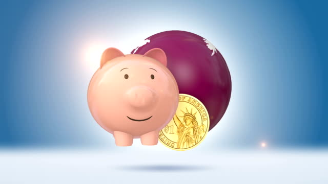 Piggy Bank And Dollar Coin With Globe