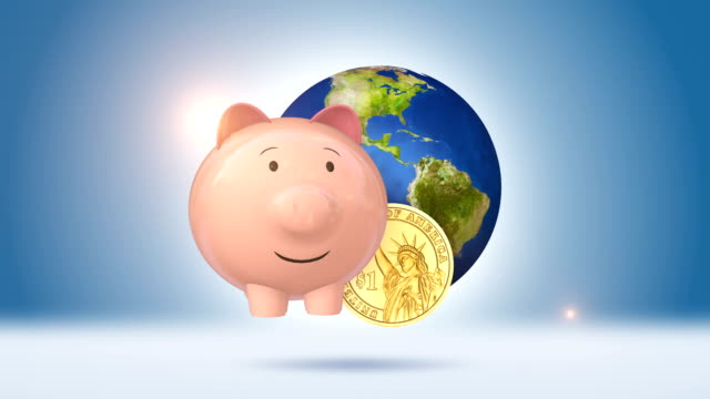 Piggy Bank And Dollar Coin With Orbiting Blue Globe