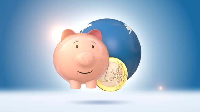 Piggy Bank And Euro Coin With Blue Globe